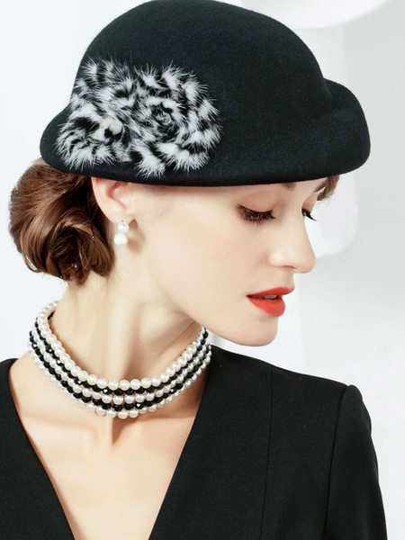 Milanoo Vintage Black Hat Wool Faux Fur Women Headpieces