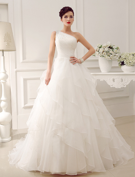 Milanoo Ivory One-Shoulder Rhinestone Satin Organza Tulle Wedding Dress