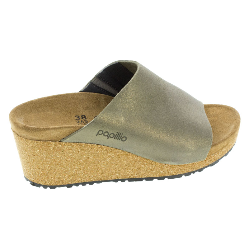 Birkenstock Namica Washed Metallic Stone Gold Leather High Heel 42 N