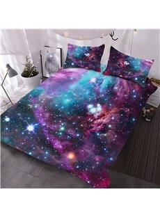 3D Starry Purple Galaxy Outer Space 3-Piece Lightweight Warm Comforter Sets No-fading Digital Printed Comforter for All Seasons