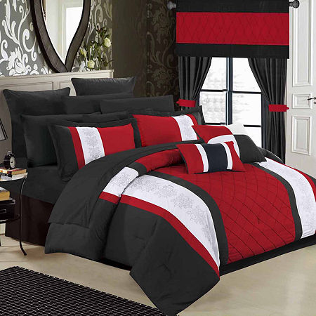 Chic Home Danielle 24-pc. Midweight Embroidered Comforter Set, One Size , Red