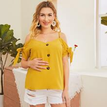 Maternity Cold Shoulder Knot Cuff Button Front Top