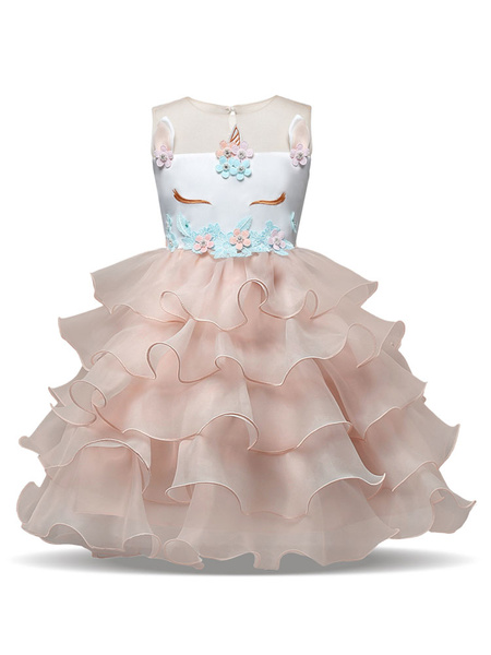 Milanoo Unicorn Dresses Little Girls Ruffles Halloween Costume Kids Party Dress With Headpieces