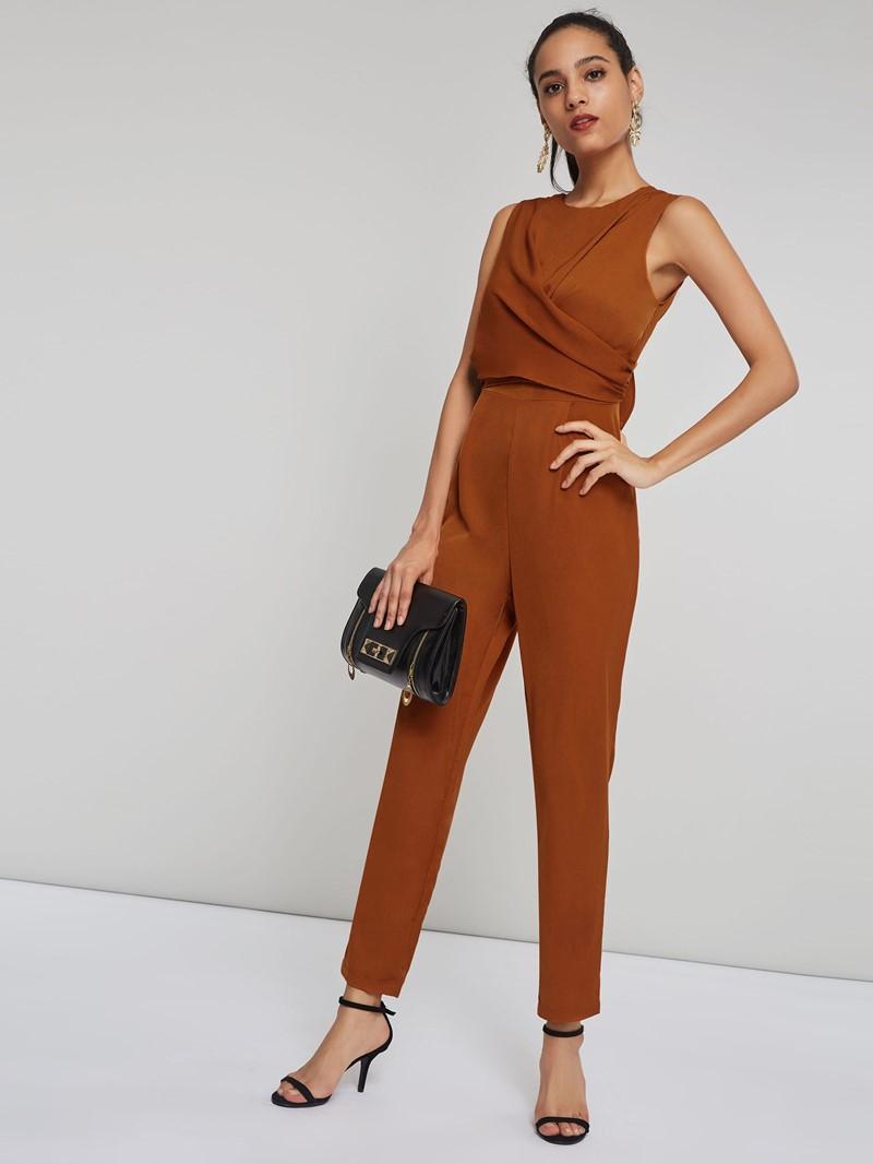 Ericdress Plain Zipper Office Lady Slim Jumpsuit