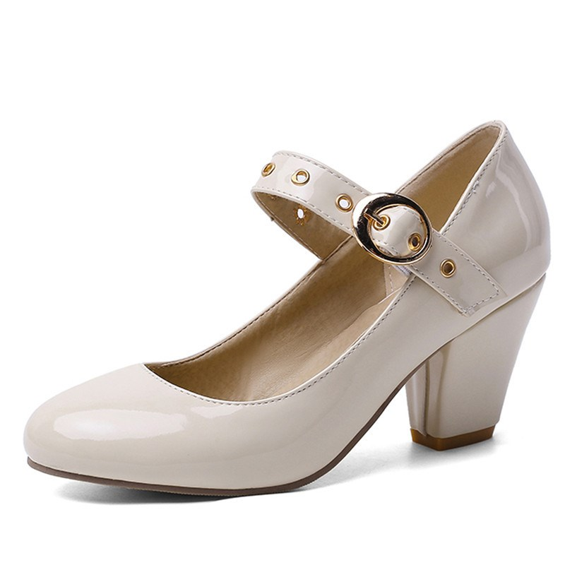Ericdress Buckle Round Toe Plain Chunky Sandals