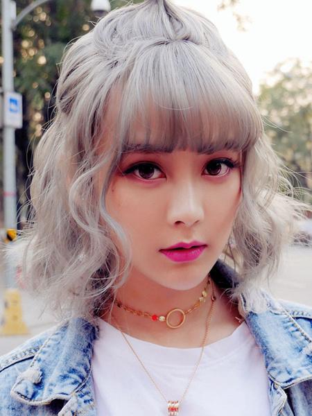 Milanoo Sweet Lolita Wigs Gray Short Lolita Hair Wigs With See Through Bangs