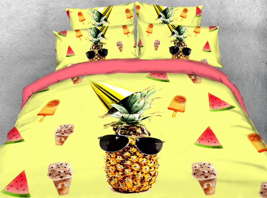 Summer Pineapple Fruit Zipper 4pcs 3D Durable Bedding Sets No-fading Soft Reactive Printing Blue Duvet Cover with Ties