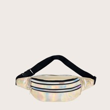 Kids Holographic Zipper Front Fanny Pack