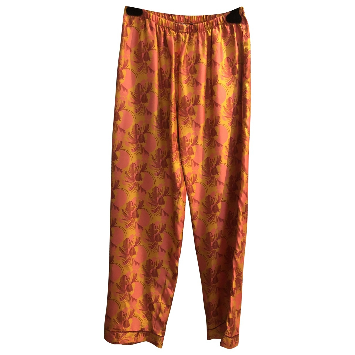 Laura Urbinati \N Orange Silk Trousers for Women 42 IT