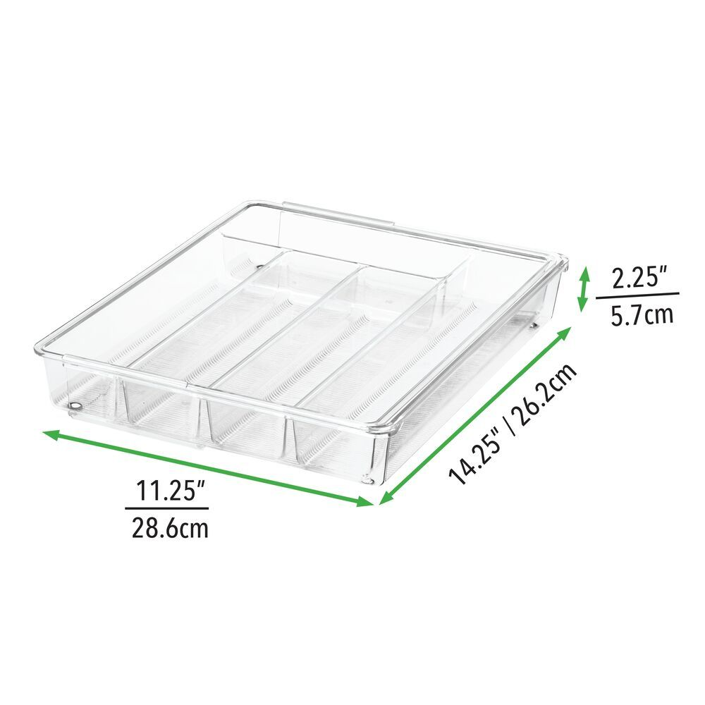 6 Compartment Expandable Plastic Kitchen Drawer Cutlery Tray in Cream, 14.25