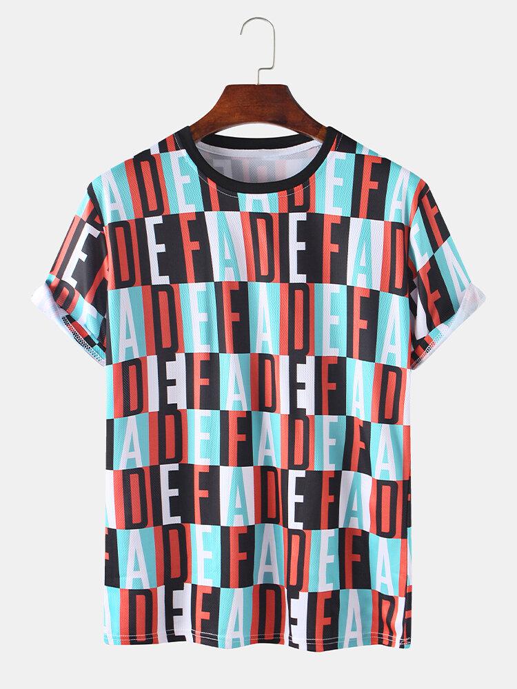 Mens Allover Print O-Neck Casual Designer Short Sleeve T-Shirt