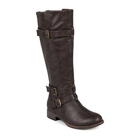 Journee Collection Womens Bite Wide Calf Tall Boots, 8 1/2 Medium, Brown