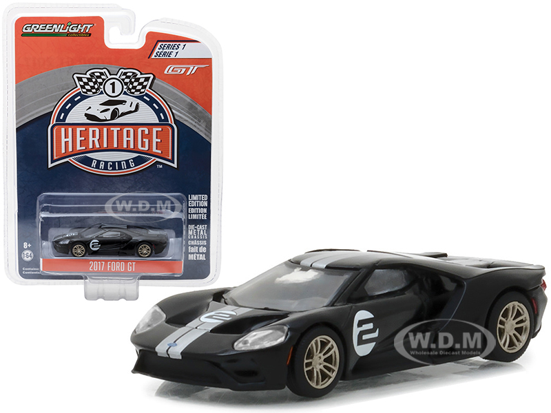 2017 Ford GT Black 2 - Tribute to 1966 Ford GT40 MK II 2 Racing Heritage Series 1 1/64 Diecast Model Car by Greenlight