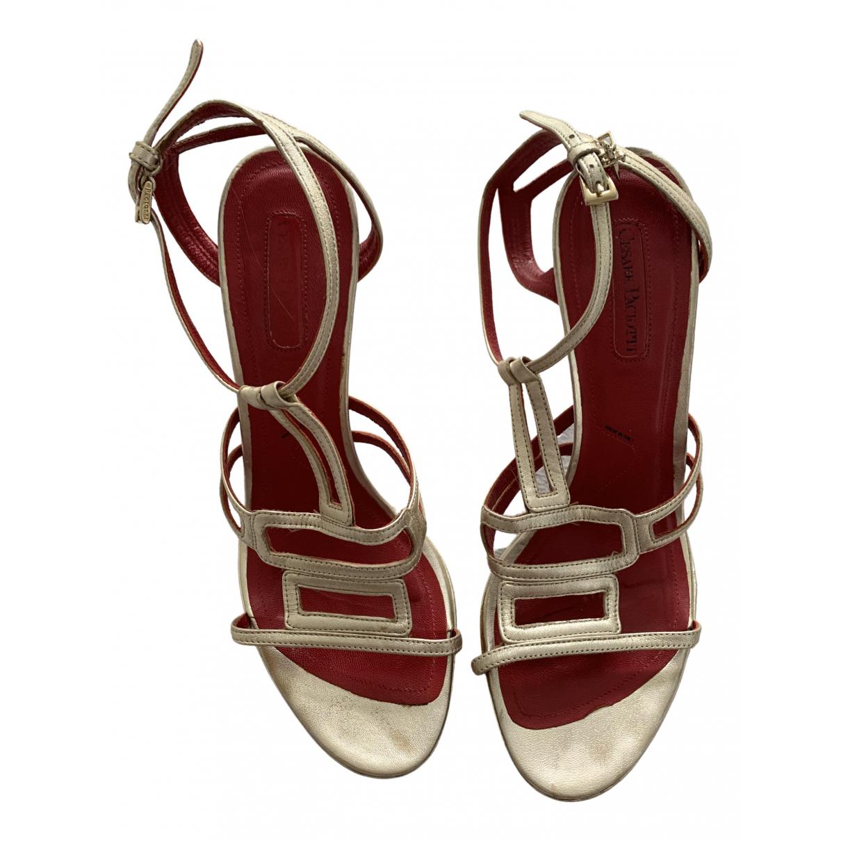 Cesare Paciotti \N Gold Leather Sandals for Women 39 EU