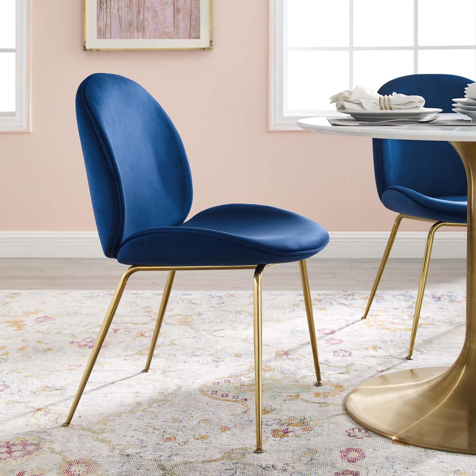 Scoop Gold Stainless Steel Leg Performance Velvet Dining Chair in Navy