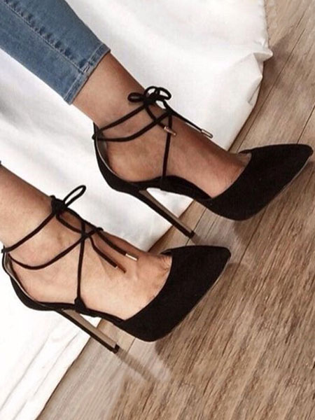 Milanoo Suede High Heels Women Pointed Toe Lace Up Pumps