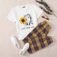 Sunflower and Figure Graphic Top & Tartan Pants Set