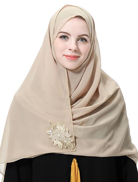 Milanoo Women Chiffon Hijab Applique Pearls Ethnic Headscarf