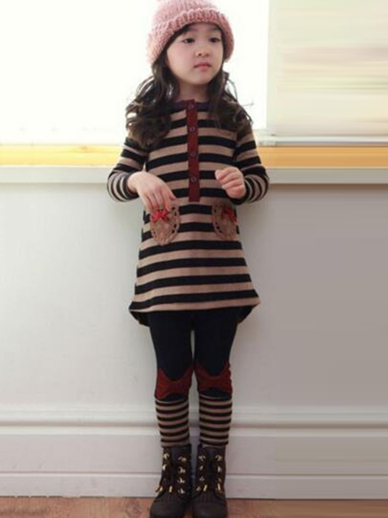 Ericdress Color Block Stripe Girls Outfit