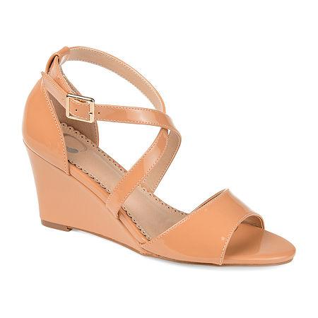 Journee Collection Womens Stacey Pumps Wedge Heel, 7 1/2 Medium, Brown