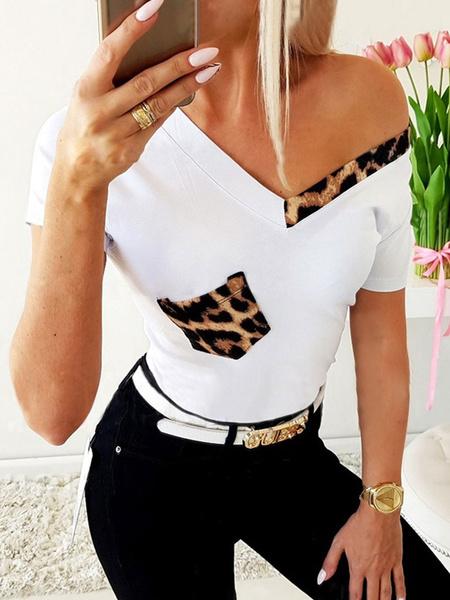 Milanoo Short Sleeves Tees Leopard Print V Neck Women T Shirt