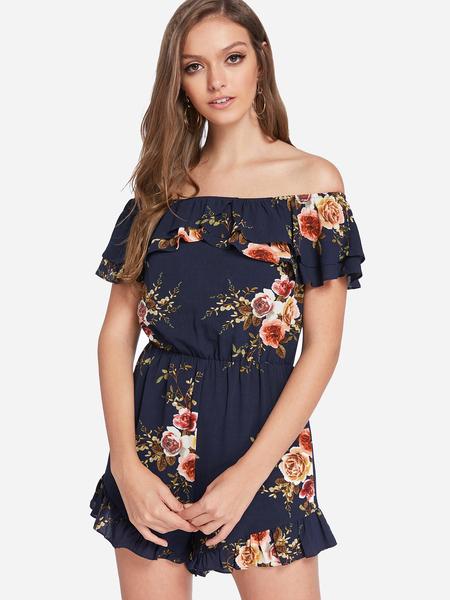 Yoins Navy Backless Random Floral Print Off Shoulder Short Sleeves Playsuits