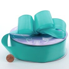 Polyester Aqua Double Face Satin Ribbon - 2-1/2 X 25yd - Polyethyleneester by Paper Mart