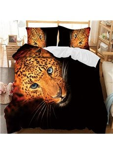 Leopard Head With Black Background Printed 3-Piece Comforter Sets