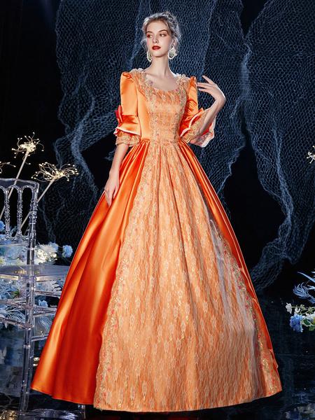 Milanoo Rococo Victorian Retro Costume Dress Orange Red Masquerade Lace Cotton Cosplay Costume Halloween