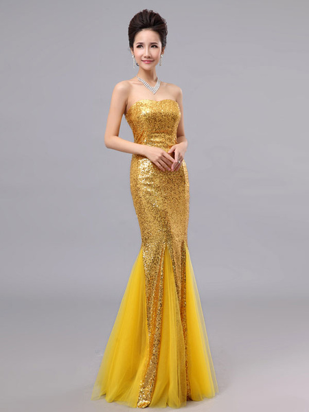 Milanoo Mermaid Prom Dresses Long Sequin Evening Dress Strapless Cameo Pink Formal Gowns