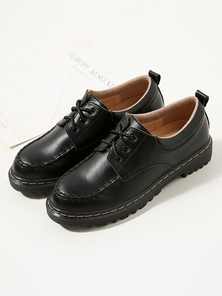 Milanoo Women Black Oxfords Round Toe PU Leather Lace Up Shoes