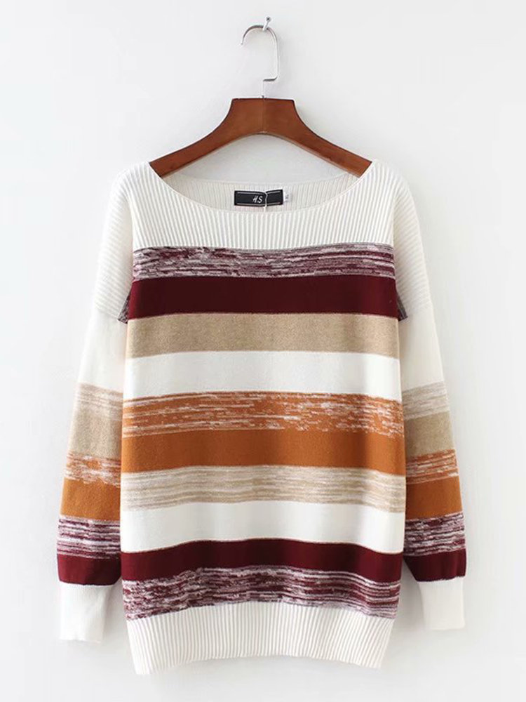 Casual Print Crew Neck Long Sleeve Sweater