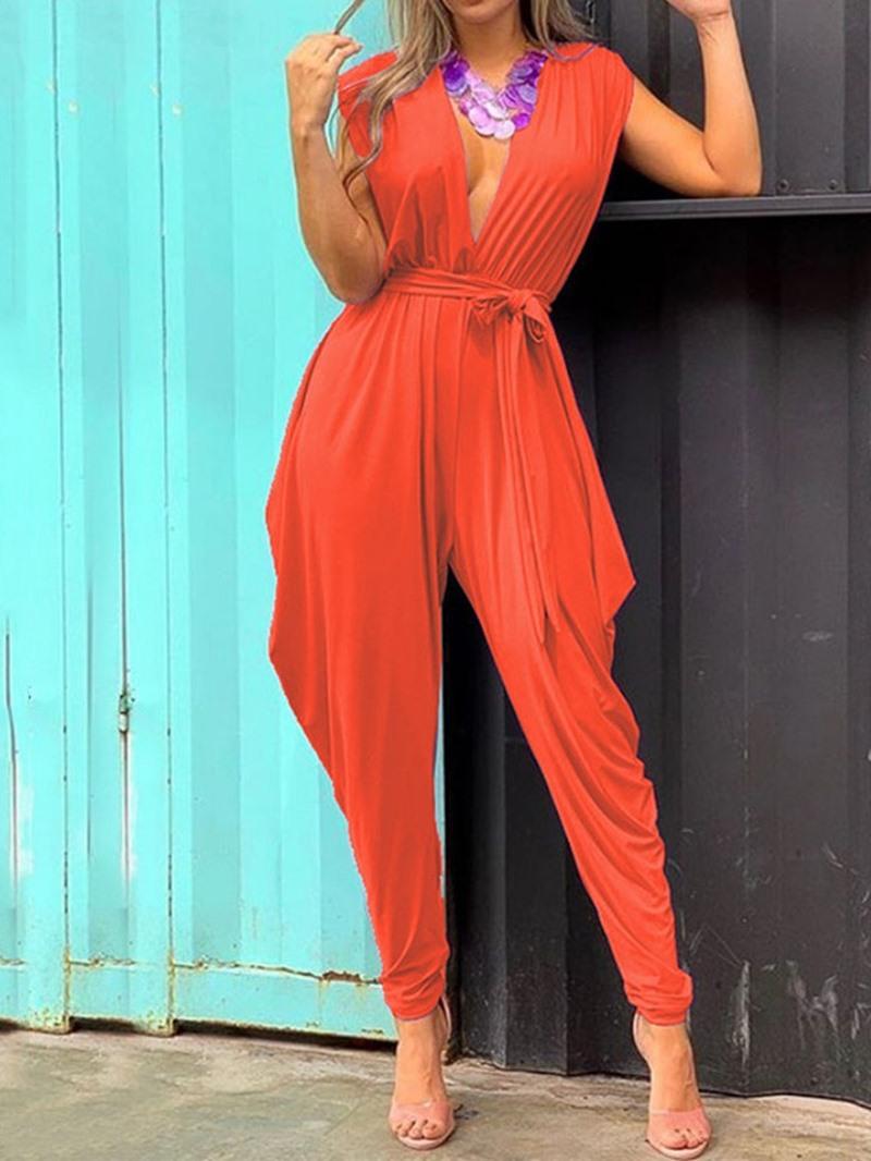 Ericdress Belt Dressy Sexy Plain Jumpsuit