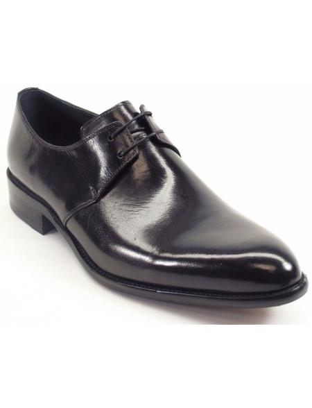 Black Calfskin Leather Cognac Lace Up Oxford Shoes