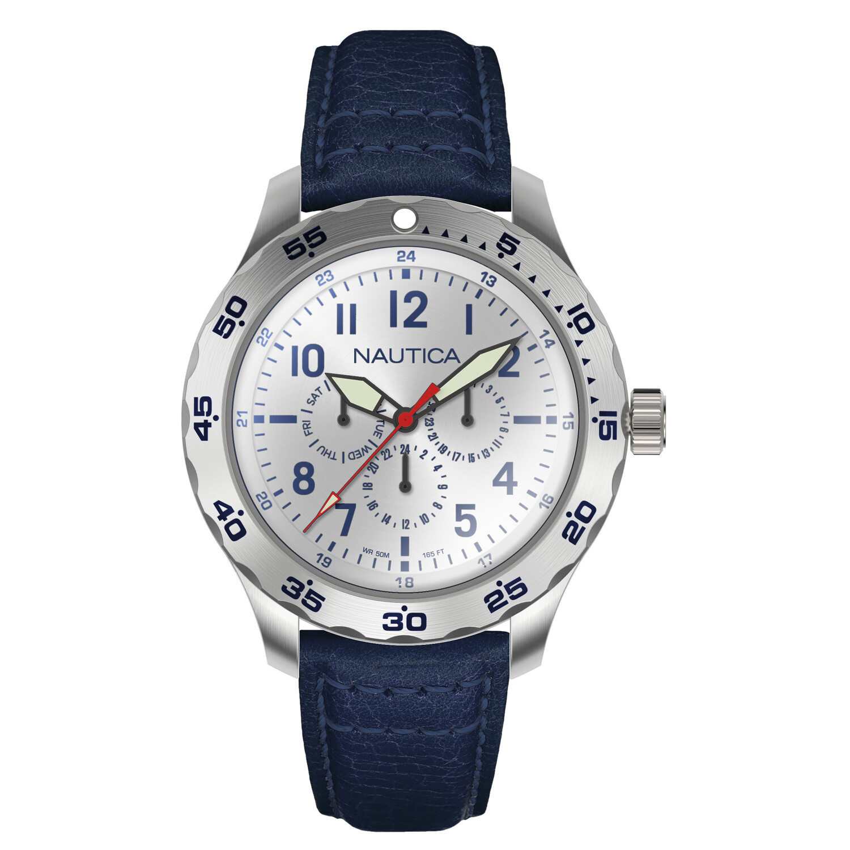 Nautica Men's Cruise Ncc01 Multi NAPNCI802 Silver Leather Quartz Fashion Watch