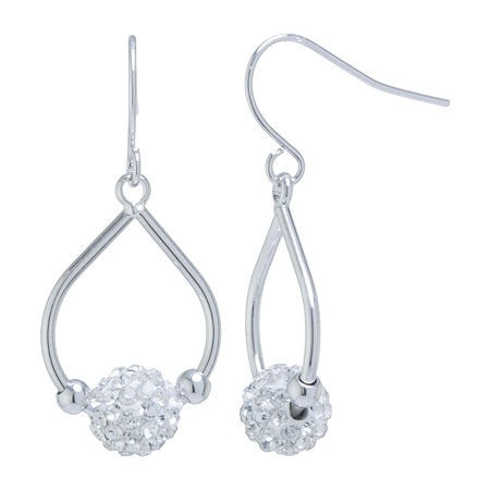 Sparkle Allure Crystal Pure Silver Over Brass Pear Hoop Earrings, One Size , No Color Family