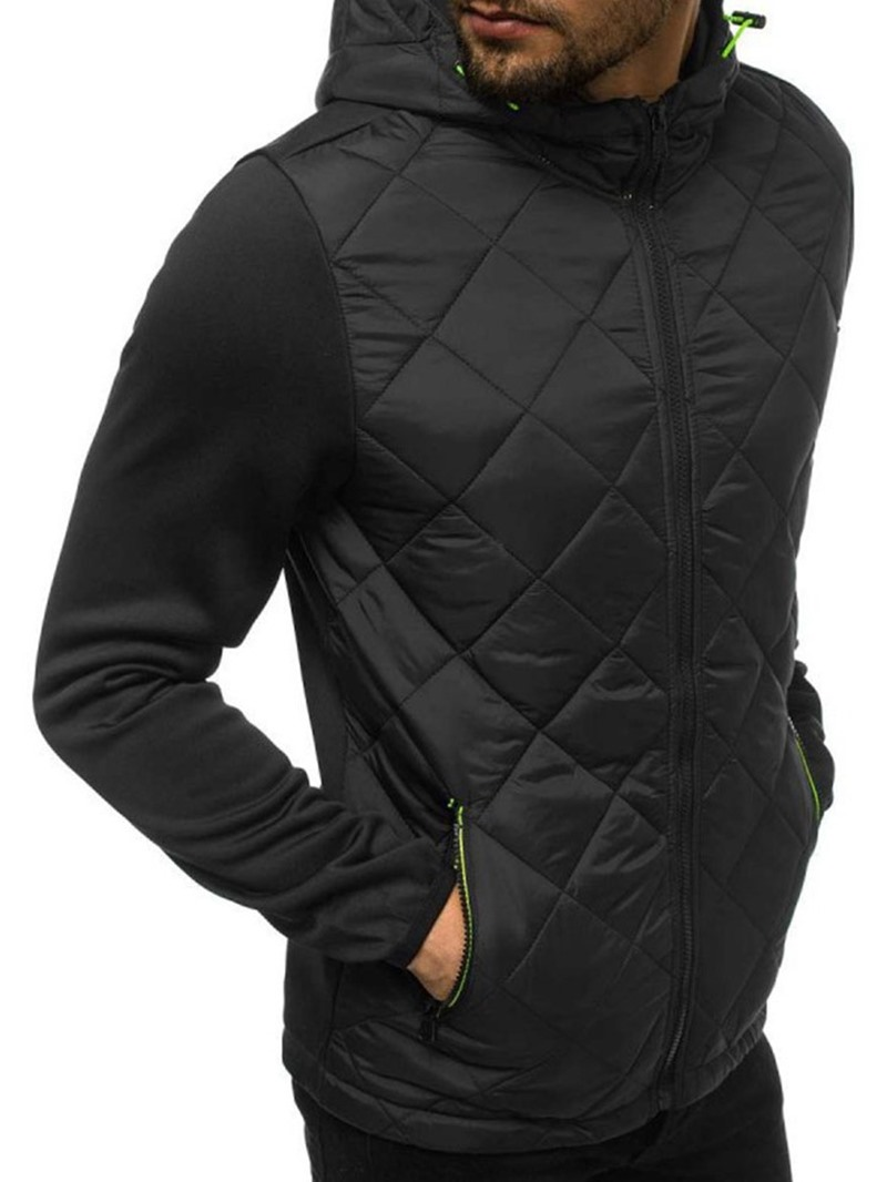 Ericdress Patchwork Hooded Color Block Zipper Sports Down Jacket