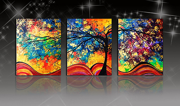 16×24in×3 Panels Colored Tree Oil Painting Hanging Canvas Waterproof and Eco-friendly Framed Prints