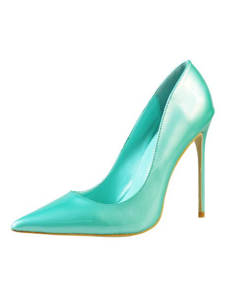 Milanoo Women High Heels Cyan Dress Shoes Pointed Toe Slip On Basic Pumps Heeled Shoes