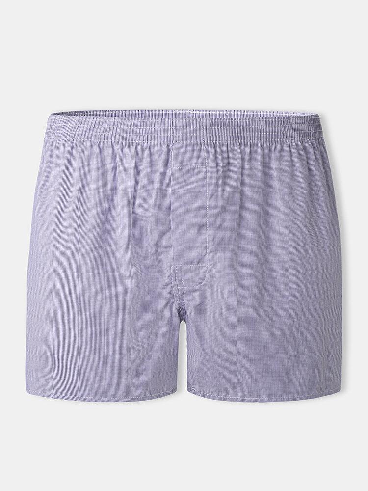 Men Fine Plaid Cotton Underpants Home Lounge Boxer Briefs With Button Crotch