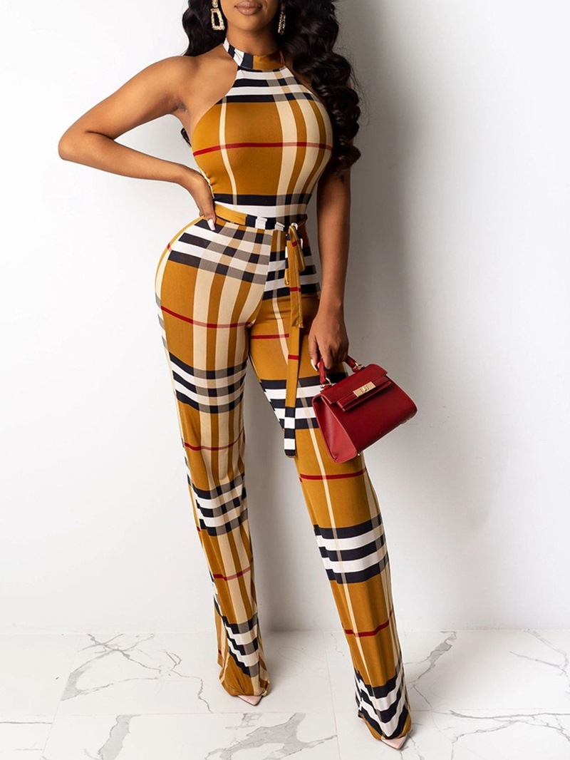 Ericdress Plaid Casual Full Length High Waist Skinny Jumpsuit