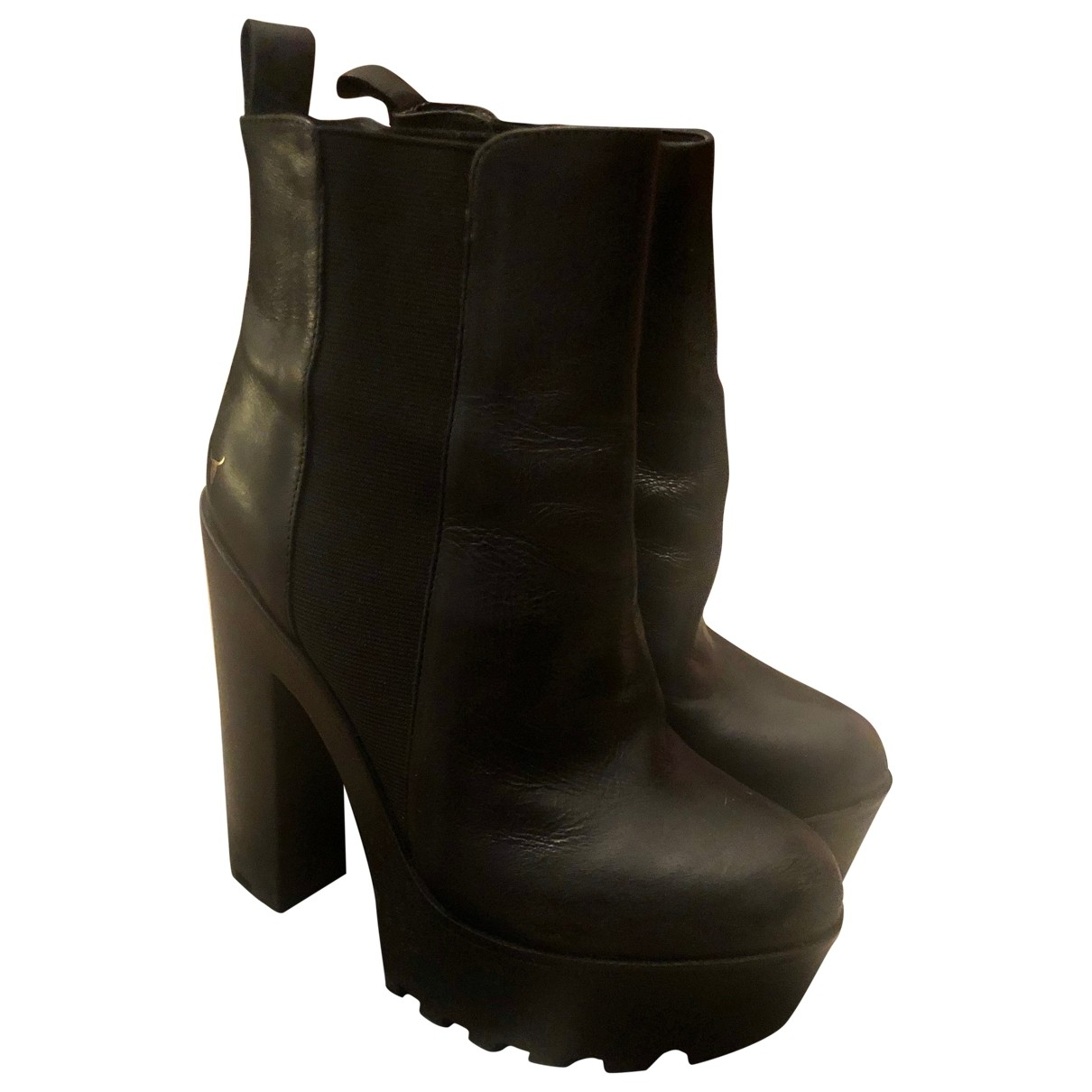 Windsor Smith \N Black Leather Ankle boots for Women 38 EU