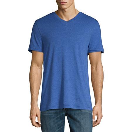 Arizona Super Soft Mens V Neck Short Sleeve T-Shirt, X-small , Blue