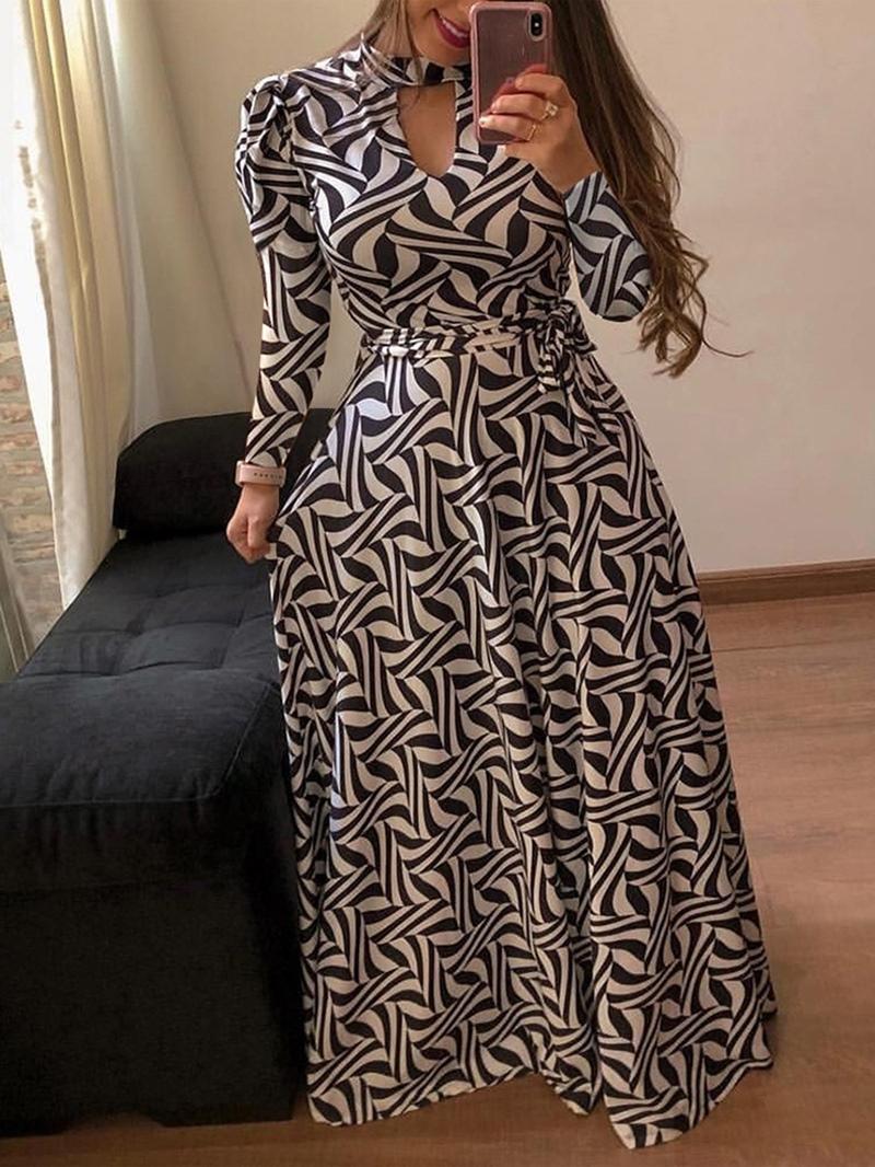Ericdress Floor-Length V-Neck Print Spring Mid Waist Dress