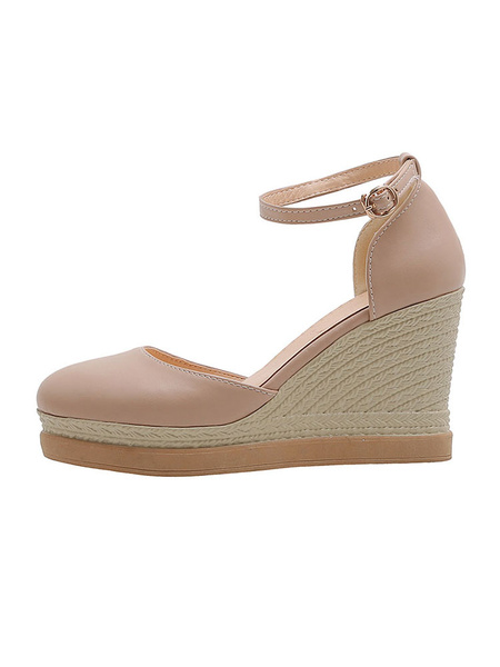 Milanoo Pink Wedge Shoes Women Round Toe Ankle Strap Plus Size Pink Espadrilles