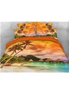 Tropical Island with Palm Trees Printed 5-Piece 3D Bedding Sets/Comforter Sets