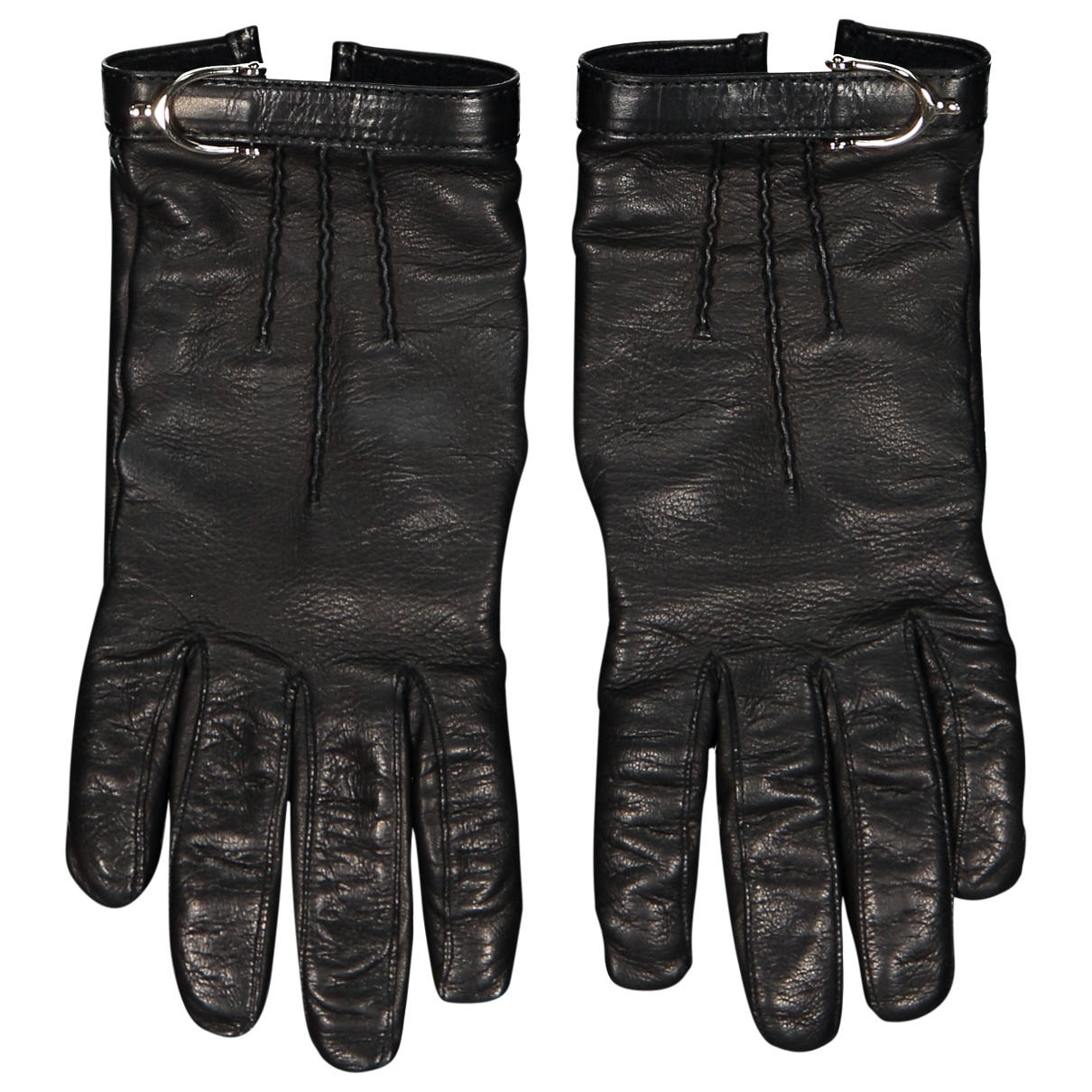 Gucci \N Black Leather Gloves for Women 7 Inches