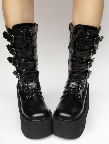 Milanoo Lolita Platform Boots Black Wedge Buckle Lace Up Round Toe Lolita Short Boots