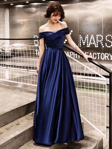 Milanoo Evening Dresses Off The Shoulder Prom Dress Long Satin Maxi Formal Gowns