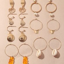7pairs Faux Pearl Shell Drop Earrings